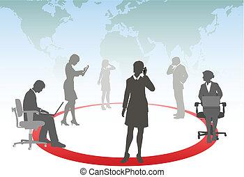 片劑, 商業界人士, 媒介, 膝上型, 電話, 電腦, 連接, 接觸, 聰明, 网絡