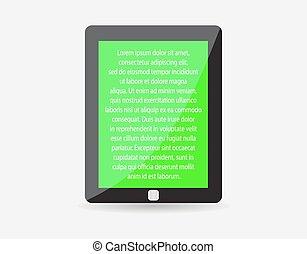 片劑, 現實, 正文, eps10., screen., 插圖, 個人電腦, 矢量, 黑色, touch-pad, 綠色, icon., 代表, 你