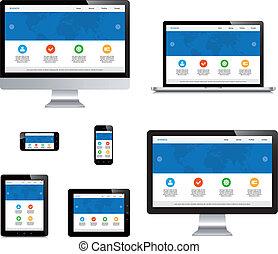 片劑, 被隔离, 膝上型, webdesign, 電腦, 敏感, smartphone, 顯示