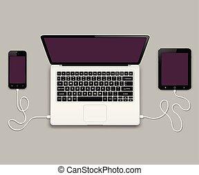 片劑, 電話, 流動, 便攜式計算机個人計算机計算机, 連線