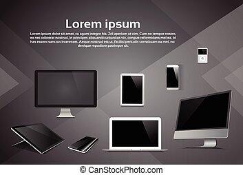 片劑, 電話, 膝上型, 桌面, 表演者, 設計, mp3, 敏感, 設備