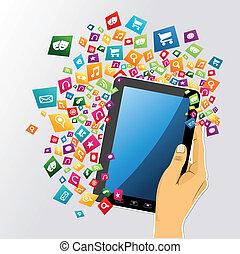 片劑, app, icons., 手, 個人電腦, 人類, 數字