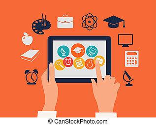 片劑, concept., icons., 触, vector., 手, e 學會, 教育