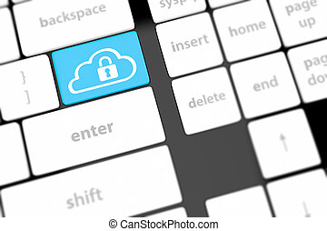 特寫鏡頭, 概念, 計算, 按鈕, 鍵盤, 安全, 雲