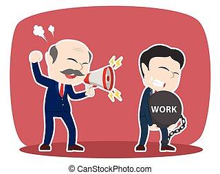牽強, 他的, 艱苦的工作, 老板, 亞洲人, 雇員, 男性