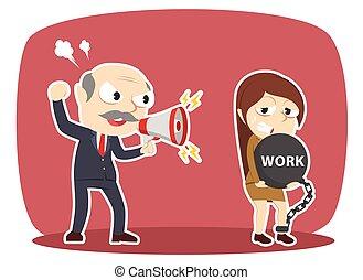 牽強, 他的, 艱苦的工作, 老板, 女雇員