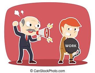 牽強, 他的, 艱苦的工作, 老板, 雇員, 男性