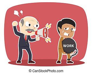 牽強, 他的, 艱苦的工作, 老板, african, 雇員, 男性