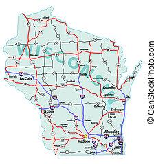 狀態, 州際, 地圖, 威斯康星