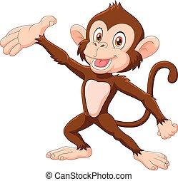猴子, 卡通, 愉快, 提出