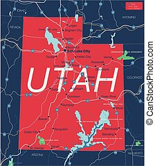 猶他州, 詳細, editable, 狀態 地圖