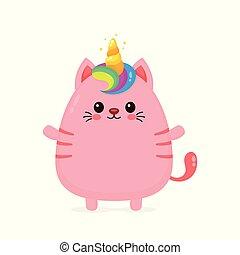獨角獸, 貓, 微笑高興, 漂亮