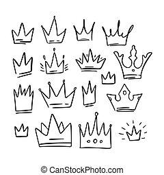 王后, 圖象, 王冠, set., 略述, design., 插圖, 家族, 心不在焉地亂寫亂畫