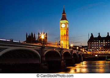 王國, 議會, ben, 房子, 團結, 大, 夜晚, 倫敦
