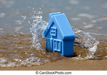 玩具房子, 波浪, 塑料, 沙子, 洗滌