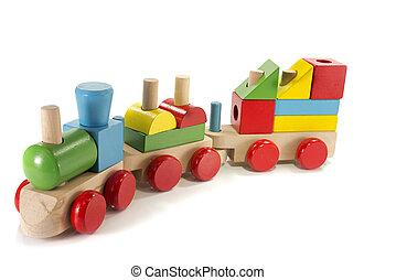 玩具, 木頭, 做, 訓練