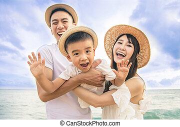 玩得高興, 愉快, 海灘, 玩, 家庭