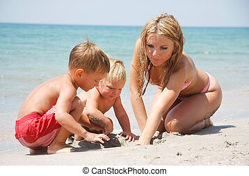 玩, 孩子, 海灘, 二, 母親