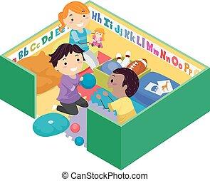 玩, 孩子, stickman, 插圖, 鋼筆, 玩具