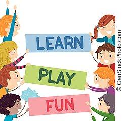 玩, 孩子, stickman, 正文, 學習, 樂趣, 旗幟