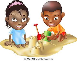 玩, 海灘, 兩個孩子