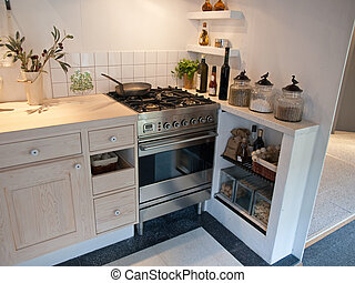 現代, 木制, 古典, neo, 細節, 設計, 廚房, 國家