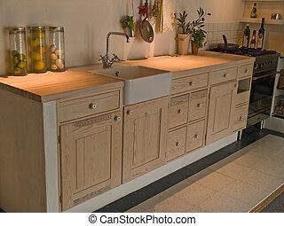 現代, 木制, 古典, neo, 設計, 廚房, 國家