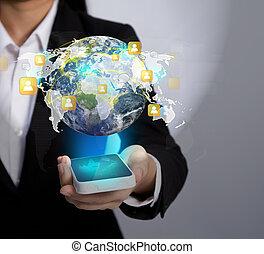 現代, 网絡, 給予, 這, 通訊, (elements, 提供, 電話, 手, 流動, 藏品, nasa), 技術, 圖像, 社會