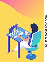 現代, laptop., 辦公室, 女孩, 工作
