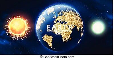 現實, 太陽, 空間, 月亮, 背景。, univerce., 行星, 地球