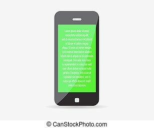 現實, 流動, 正文, eps10., screen., 插圖, 電話, 矢量, 綠色, icon., 代表, 你, 聰明