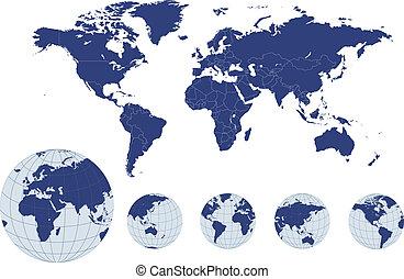球体, 世界地圖, 地球
