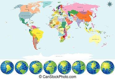 球体, 地圖, 政治, 世界, 地球