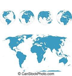 球体, 地圖, 矢量, -, 世界