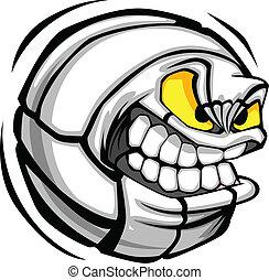 球, 排球, 臉, 矢量, 卡通