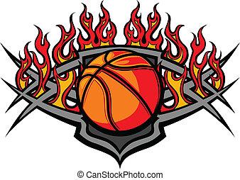 球, 籃球, 火焰, 樣板