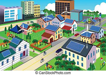 環境, 城市, 綠色, 友好, 場景
