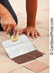 瓦片, 材料, 适用, 地板, 陶瓷, 聯接
