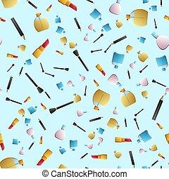 瓶子, 矢量, 刷子, 圖案, 項目, 粉, 時裝, 鏡子, 心不在焉地亂寫亂畫, -, 擦亮, 項鏈, 手, seamless, 釘子, 构成, 畫, 香水, 唇膏