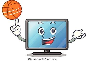 生活, 籃球, 房間, 電視, lcd, 卡通