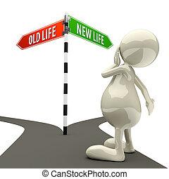 生活, 老人, 簽署, 新, 路, 3d