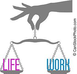 生活, 規模, 工作, 手, 人, 平衡