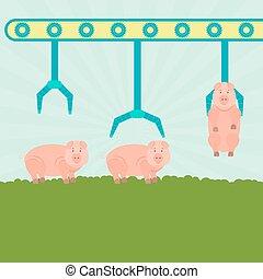 生產, 豬, 机械