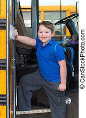 用板覆蓋, 公共汽車, 學校, 愉快, 孩子