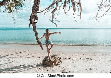 田園詩, 健身, 海灘, 平衡, 女孩, 早, 自由, 早晨