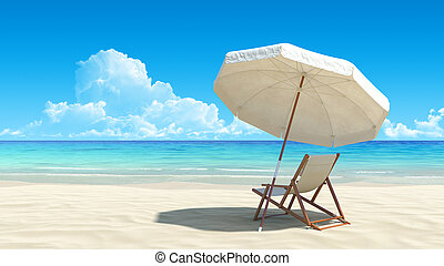 田園詩, 傘, 熱帶, 沙子, 椅子, 海灘