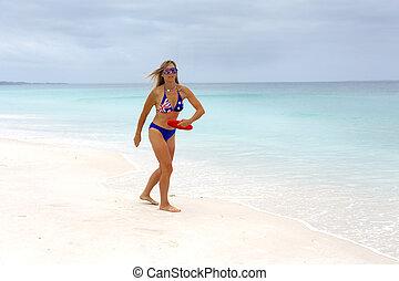 田園詩, 玩, 海灘遊樂場, 女孩, 文化, 澳大利亞, 健身, 海灘。