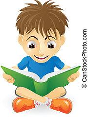 男孩讀, 年輕, 愉快