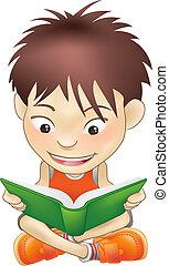 男孩讀, 年輕, 書