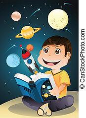 男孩讀, 書, 天文學